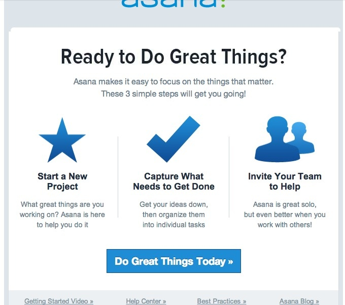 asana follow up email one day without having used the app - follow up email