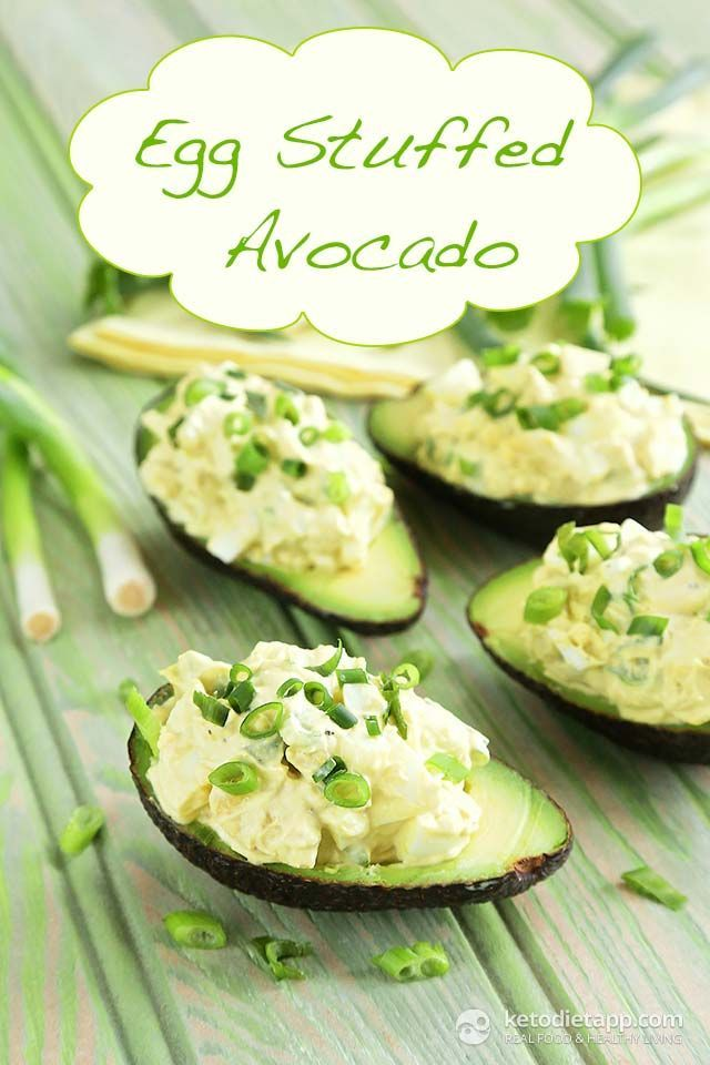 Egg Stuffed Avocado -- Rich in fiber, protein, potassium, and healthy fat, yet has less than 5 grams of net carb per serving. Another fantastic creation from Martina at KetoDiet. #healthy #lowcarb