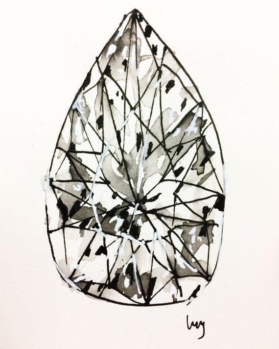 "Diamond, Original Art, Pear Shaped Diamond, Tear Drop, Drawing, Ink, Geometric, Shapes, Small, Acrylic, Paper, Wall Art, 4""x6"", 10cm x 15cm"