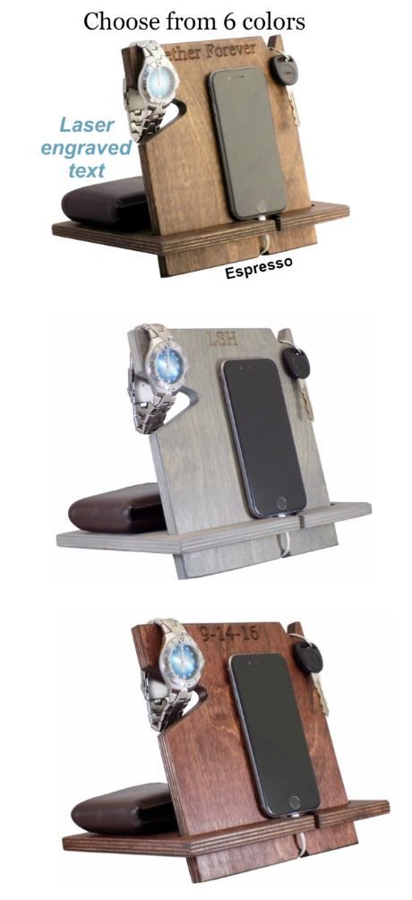 Help keep all of your everyday items organized and easy to find with this PERSONALIZED laser engraved docking station made from real wood!  Shop now for gifts any guy or girl will love!
