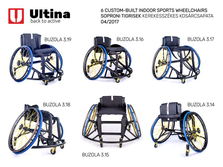 Six made-to-measure Ultina BUZOLA sports chairs with excellent equipment including very solid aluminium 7020 frame, Spinergy wheels with X-laced design and high-quality and safe textiles in custom-design.