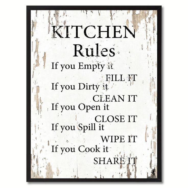 Kitchen Rules Inspirational Saying Home Décor Wall Art Gift #KitchenIdeas #vintagekitchen
