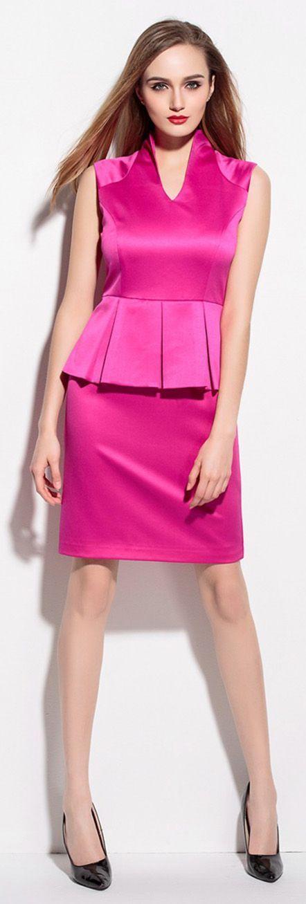 Hot Pink Peplum Sleeveless Dress