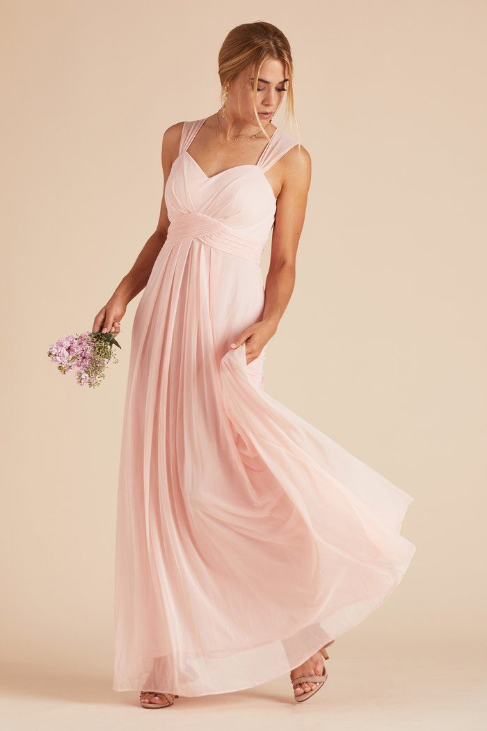 4d0e974310dd Birdy Grey Simone Thick Strap Empire Waist Bridesmaid Dress with Keyhole  Cutout Back in Blush Pink under $100