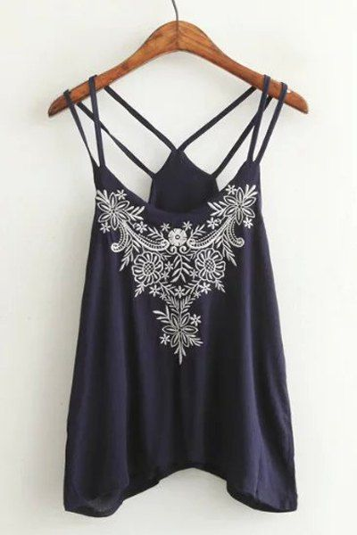 Stylish Spaghetti Strap Embroidery Embellished Women's Tank Top #Strappy…