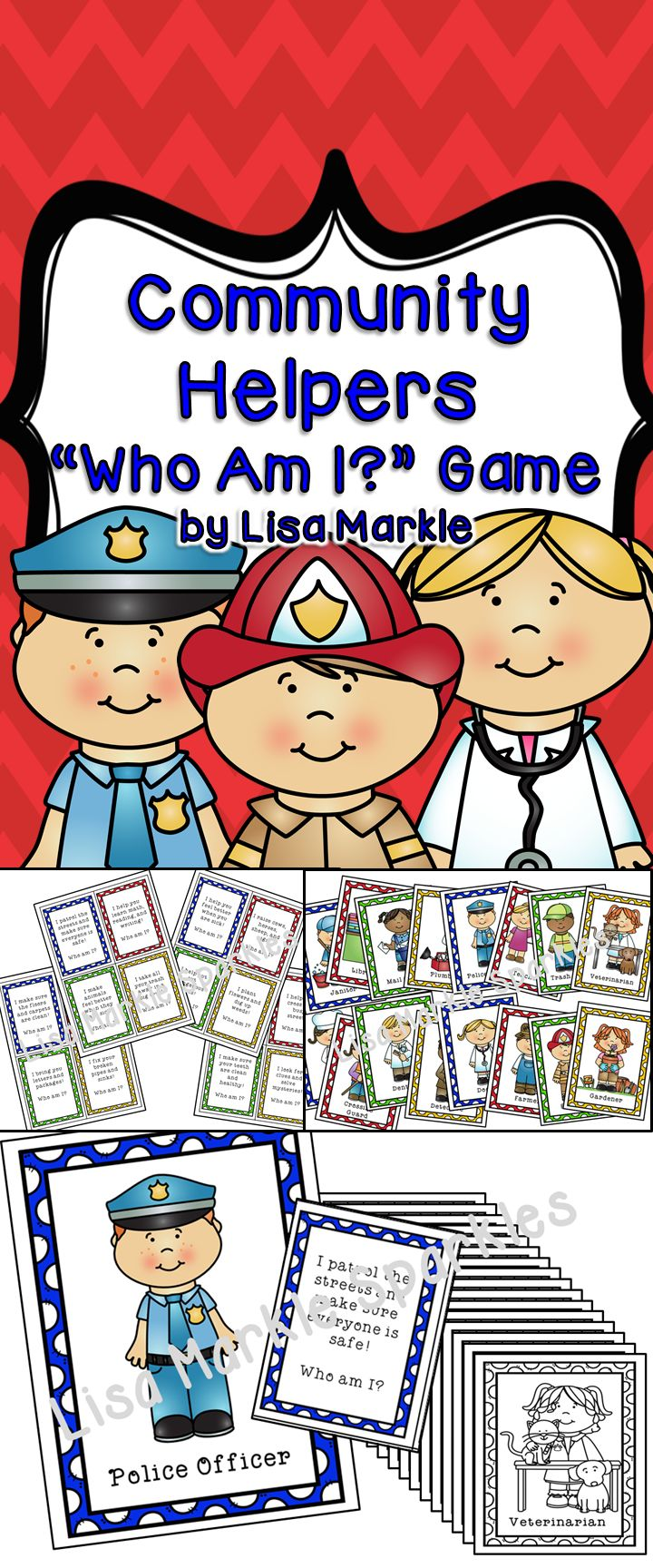 Play this fun interactive game with your students to teach them about 16 different community helpers! You can use this a multitude of ways for different grades and abilities! It can be a circle time activity for preschool. Have each child hold a community helper and as you read the clues, they can decide if that's what their community helper does! Or you can use it in an elementary classroom as a reading comprehension literacy center matching activity! Black and white version included!