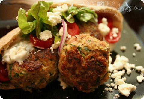 Greek turkey meat ball- left out zucchini and added feta.....