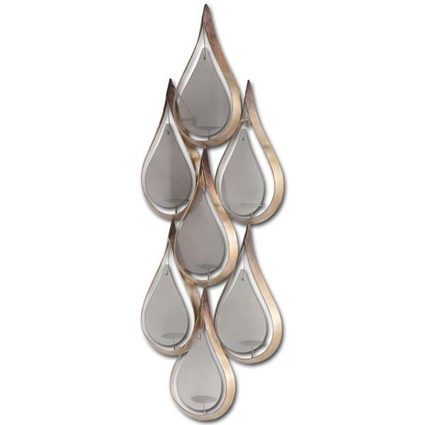 "Tear-drop, tealight holder wall sconce in gold with smokey frosted glass.  Group a couple of these sconces together for a huge impact! 20""W x 6""D x 52""H $285"