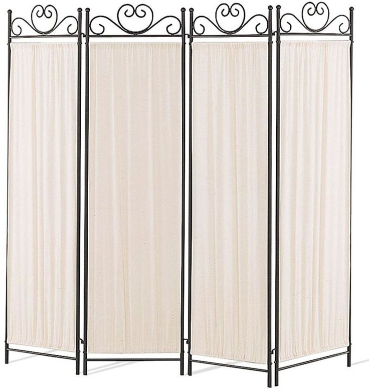 4 Panel Metal And Cloth Room DIvider