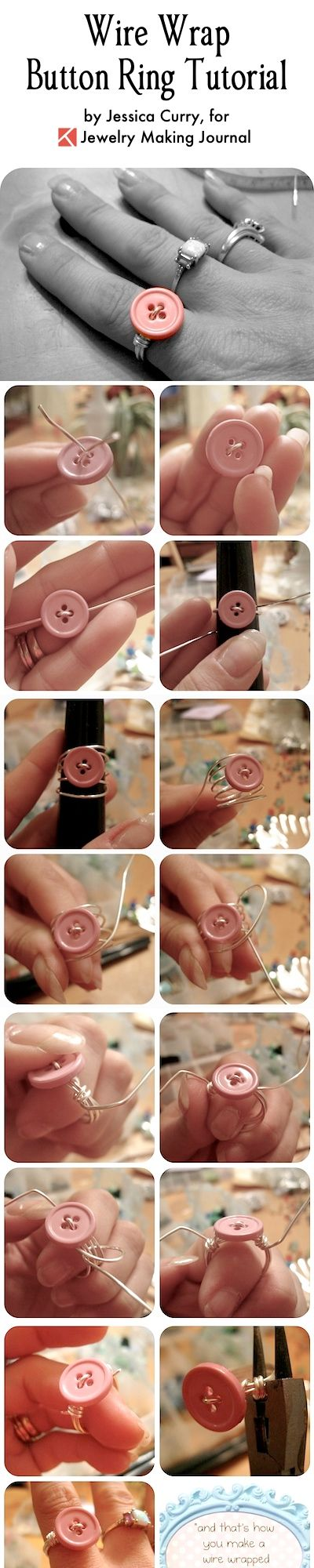 Wire Wrap Button Ring Tutorial   Wire Button Ring Tutorial   Button Jewelry Tutorial   Make Button Jewelry