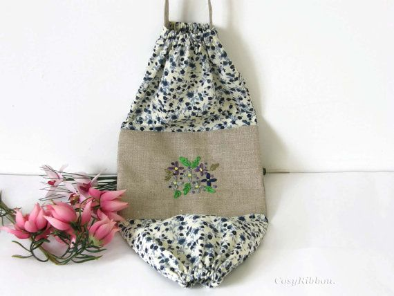 Blue Fabric Bag Dispenser Plastic Bag Holder Grocery Bag