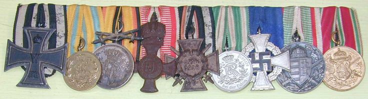 Nine medal EKII 1914, Saxon Gold Bravery Medal, Reuss Bravery with Swords, Franz Joseph Order with Crown, Hindenburg Honor Cross With Swords (Combatant), Saxon 9 Year Long Service Cross, Silver Civil Service, Hungary War Service 1914-1918, and Bulgarian World War I Service Medal bar in court mounts.
