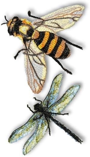 Advanced Embroidery Designs - Bee and Dragonfly