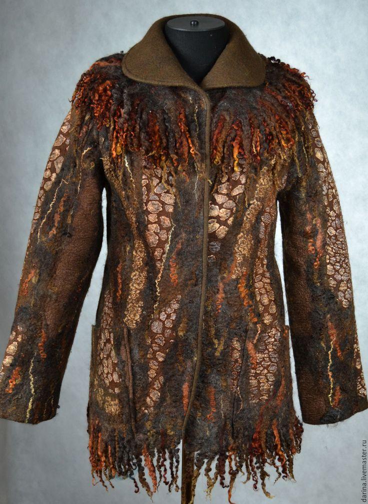 """Купить куртка валяная """"Ночные огни"""" - коричневый, куртка валяная, коричневая куртка, теплая куртка"""