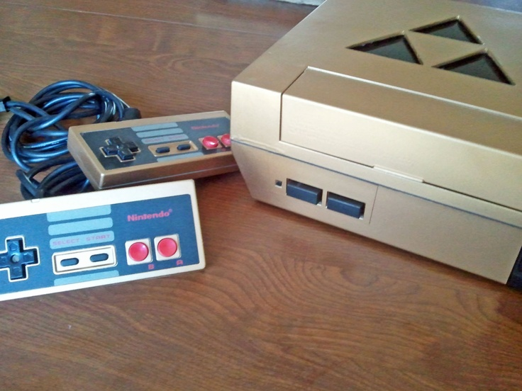 Custom Gold NES System with Legend of Zelda Triforce Cutout - Geekery - Gamers - 80s Games. $200.00, via Etsy.