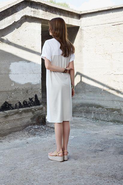 SLASHED T-SHIRT DRESS D036 LEATHER BRACELET AC015