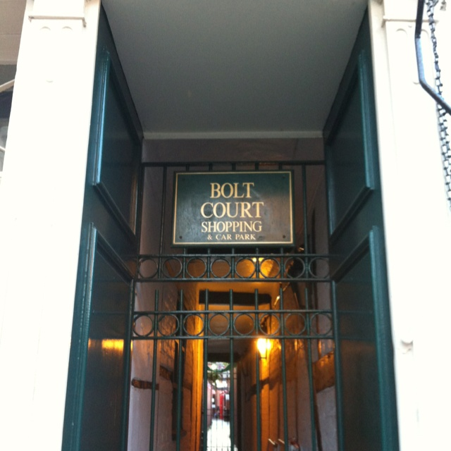 Gated entrance to Bolt Court in Lichfield