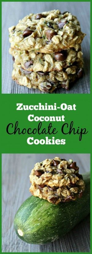Zucchini-Oat Coconut Chocolate Chip Cookies- The best way to sneak veggies into cookies!