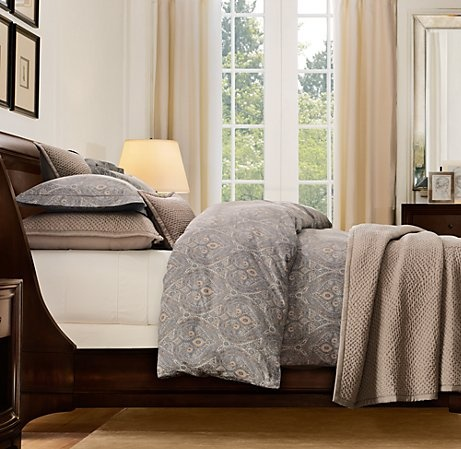 bedding love this want to have a grey tan neutral theme with hints of green.