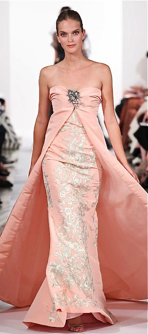 Oscar de la Renta, 2014   Nice for an awards show or shortened for class! Keep the length of the solid over dress when shortening the dress itself.