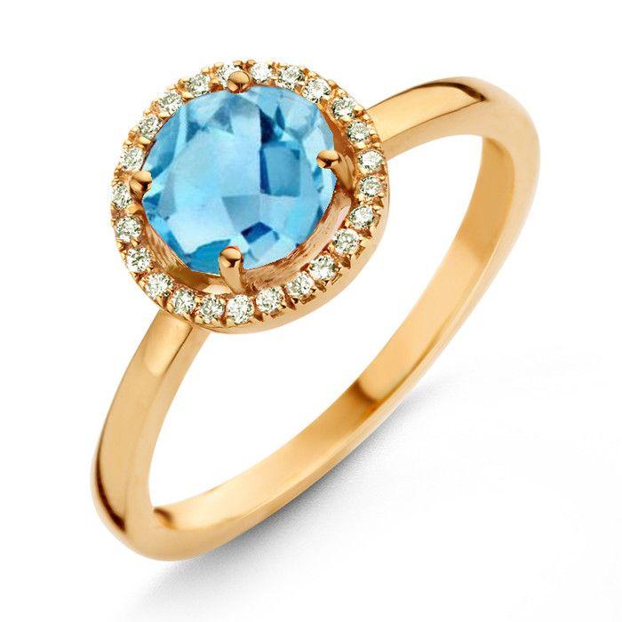 One More 18 Karaats Geelgouden Etna Ring met Swiss Blue Topaas en Diamant  Description: One More 18 Karaats Geelgouden Etna Ring met Swiss Blue Topaas en Diamant  Price: 935.00  Meer informatie