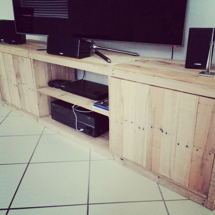 Pallet wood tv stand. Free wood from work. Made by Joel Martin!!!