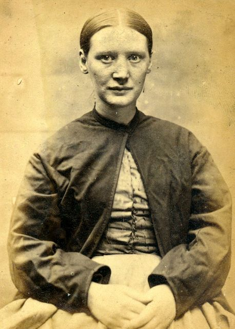 Mugshot: Agnes Stewart (aged 28). Convicted of stealing money. ca. 1870s.
