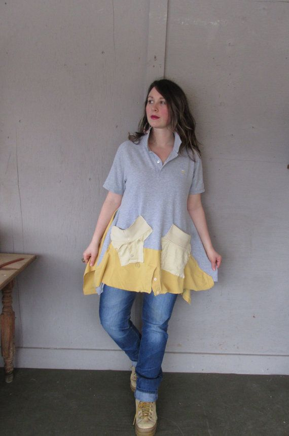 upcycled tunic Boho clothing Ralph Lauren top Funky T shirt Patchwork Lagenlook Large X Large Eco Artsy shirt by LillieNoraDryGoods