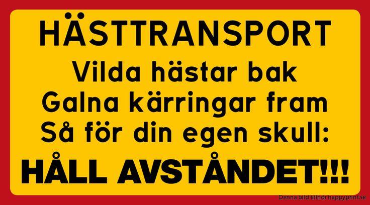 Dekal eller skylt: HÄSTTRANSPORT  Vilda hästar bak Galna kärringar fram Så för din egen skull:  HÅLL AVSTÅNDET!!!