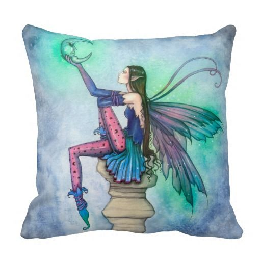 Conversation with the Moon Fairy Fantasy Art Pillows