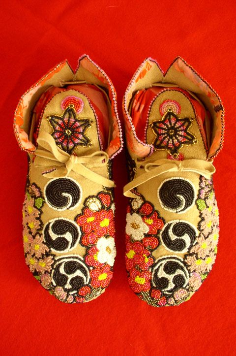"""Eri Imamura - """"The Japanese Spiral Force Series"""" moccasins - combining her Japanese cultural concepts with Native American beadwork"""