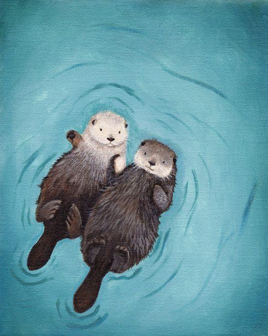 Otters Holding Hands Otter Art print Otterly Romantic