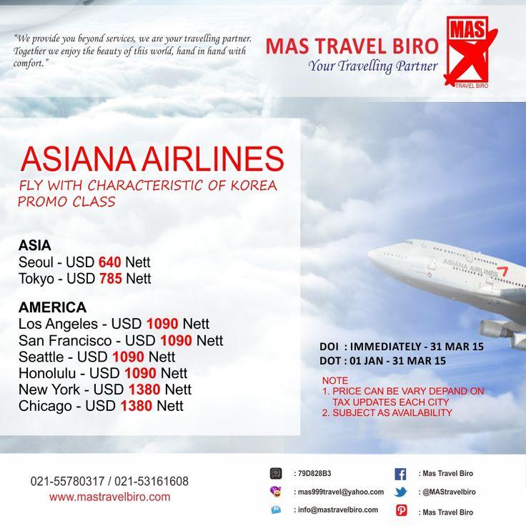 Promo Asiana, masih sampai akhir bulan Maret nih travelers. Booking sekarang :)