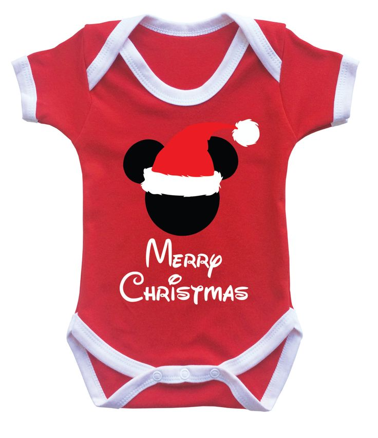 Disney Mickey mouse inspired baby's Merry Christmas  inspired red babygrow bodysuit onesie by MumKnowsBabyGrows on Etsy