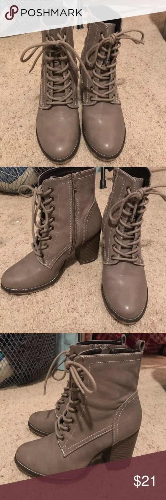 Thick heeled boots! Grey-brown color boots that lace up and a dark brown heel Candie's Shoes Wedges