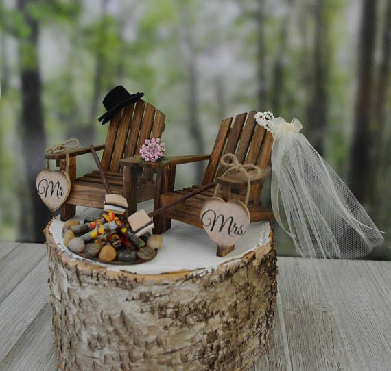S'mores themed camping wedding cake topper fire pit Mr&Mrs wedding signs bride groom country rustic weddings fall camp fire Adirondack chair