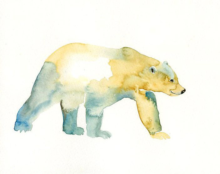 POLAR BEAR Original watercolor painting 10x8inch.