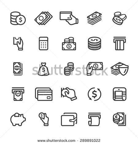 Money icon set - stock vector