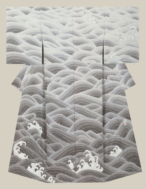 """Poetry of the waves"", a kimono created by artist Takahashi, Takayuki . Fine Work award from the Japan Dyers Association"