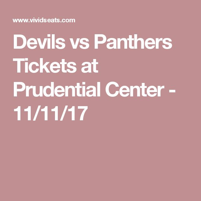 Devils vs Panthers Tickets at Prudential Center - 11/11/17