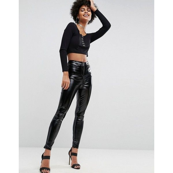 ASOS Vinyl Skinny Trouser (39.365 CLP) ❤ liked on Polyvore featuring pants, black, high-waisted trousers, pocket pants, highwaist pants, vinyl pants and shiny pants