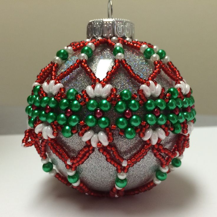 Beaded Ornament Cover. Made 2014