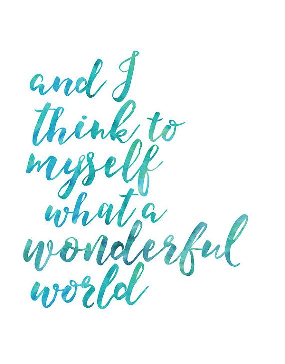 These three watercolour painted quote art printables are the perfect wall art for your babys nursery! The beautiful lyrics of Louis Armstrong's What a Wonderful World
