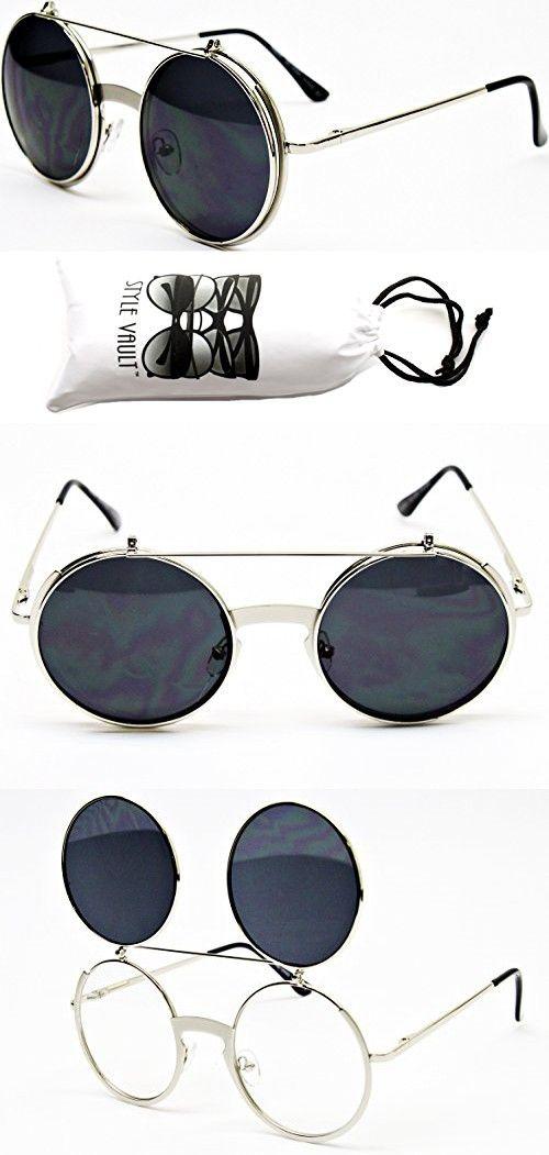 8a00b07099a4d V137-vp Flip up  Out Round Metal Sunglasses 2