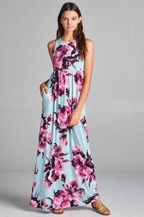 Mint Floral Racerback Maxi Dress w/Pockets - SM-XL