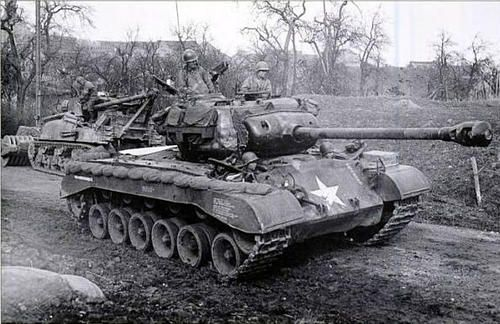 A T26E3 Co.A,14th Tank Battalion,9th AD on the road between Thum and…