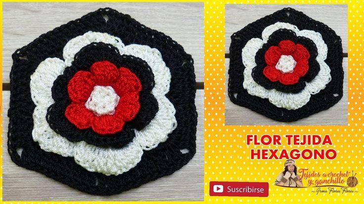Como tejer una Flor A Ccrochet y luego convertirla en un Hexágono