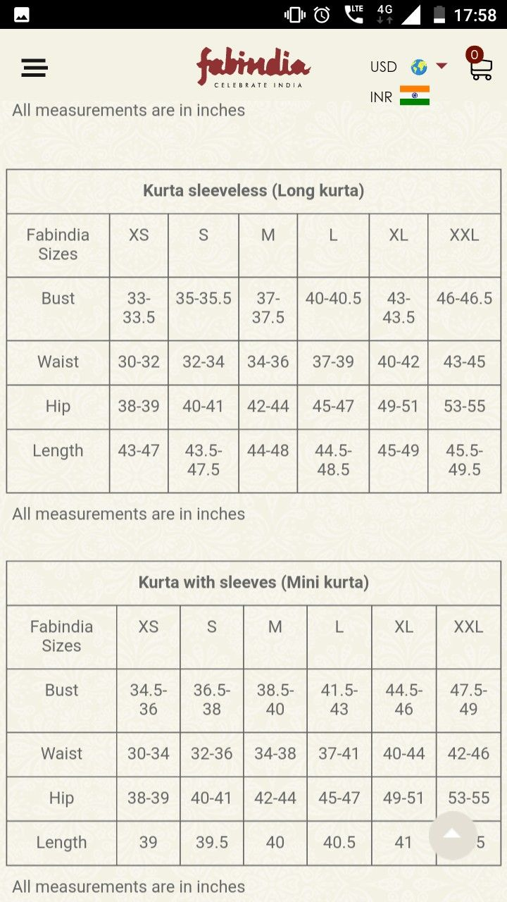 Fabindia Sizes Measurement Chart Size Chart Chart