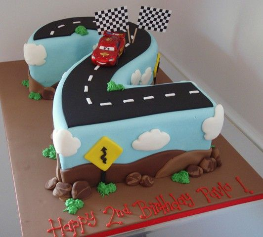 Lightening McQueen Number 2 Cake