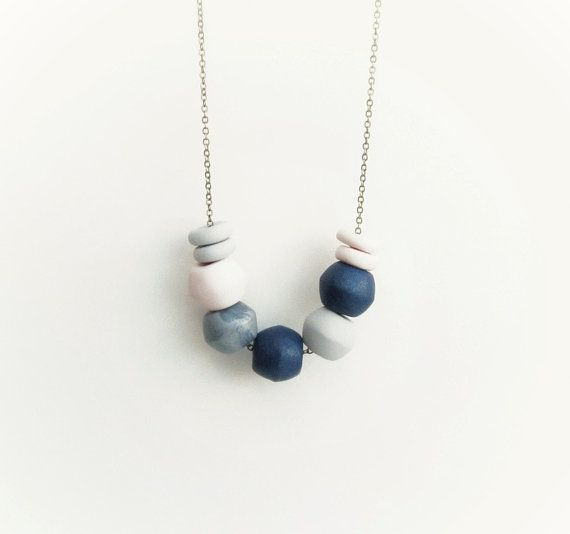 Navy blue, grey, silver, pink, polymer clay necklace, geometric necklace, antique brass chain,long/ short necklace